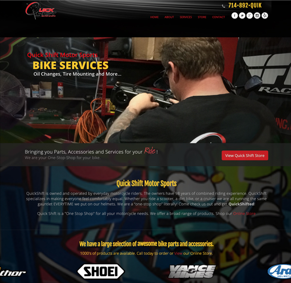 Creative Website Design Sport Bike Shop and Repair