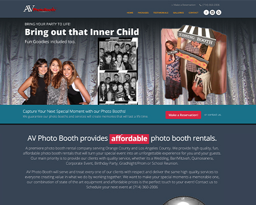 Custom WordPress Development Photo Booth Website Work
